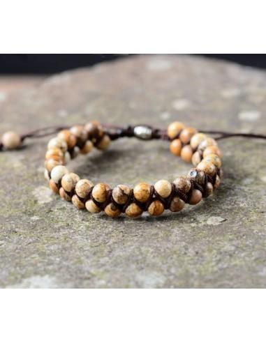 Pulsera de perlas de piedra trenzadas